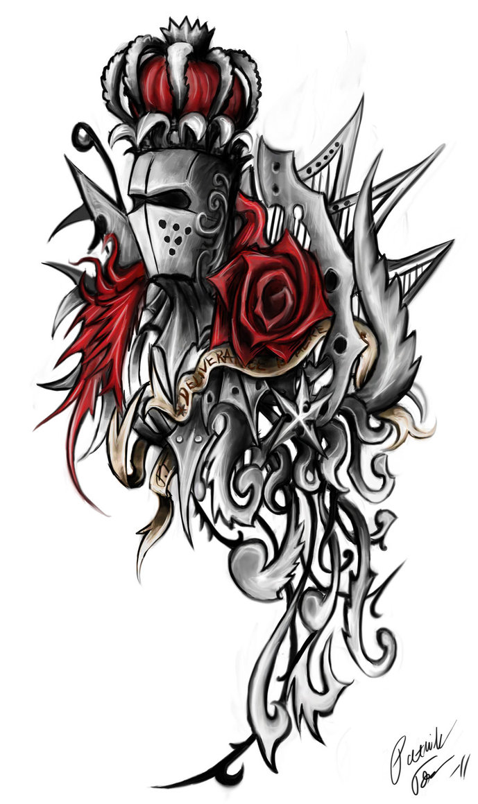 Awesome Crown Helmet And Rose Tattoo Designs For Boys