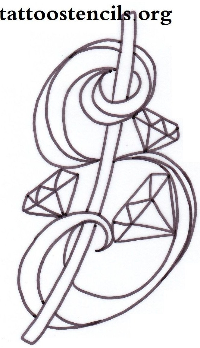 Awesome Diamond Tattoo Stencil For Girls