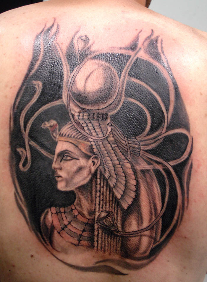 Awesome Egyptian Isis Tattoo On Back For Boys
