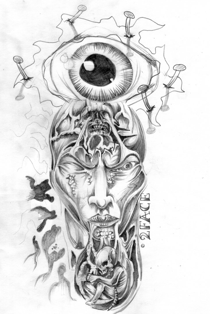 Awesome Horror Eye Face Tattoo Flash For Boys