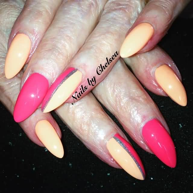 Awesome Nail Paint And Design Almond Shaped Acrylic Nail Art But Old fingers