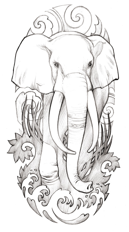 Awesome One More Elephant Tattoo Drawing For Girls