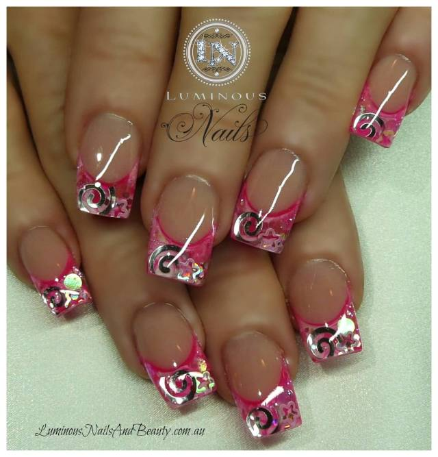 Awesome Pink Tips With Stars Pink Acrylic Nail Design