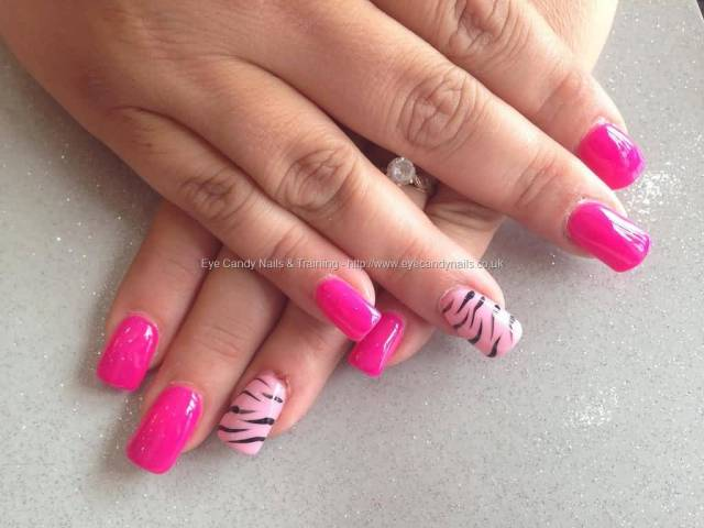 Awesome Pink With tiger Print Pink Acrylic Nail Art Design