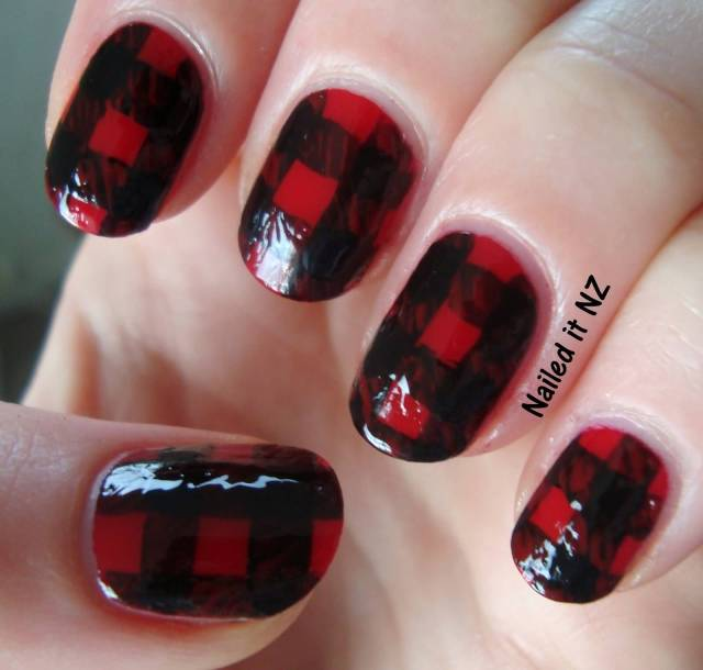 Awesome Red And Black Nails With Red Check Red And Black Nails