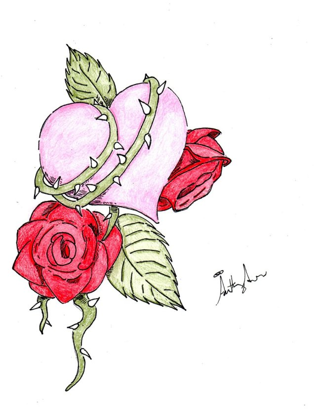 Awesome Rose n Heart Tattoo Design For Boys