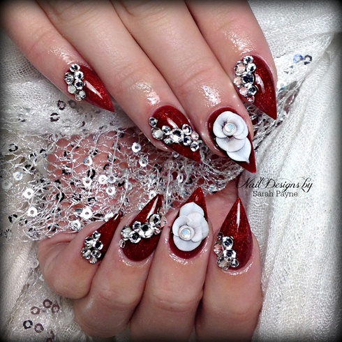 Awesome Sharp Red Nail With Diamond Coting 3D Rose Flower Nail Art