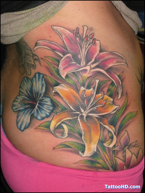 Best Ever Hibiscus Flowers Tattoo On Rib Side For Girls