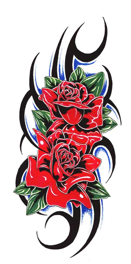 BEst Ever Tribal Rose Flower Tattoo Stencil For Boys