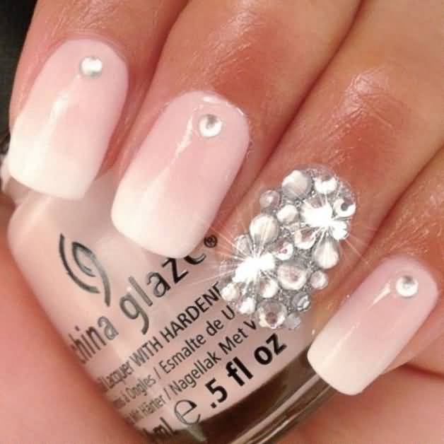 Baby Pink With Silver Color Stones Accent Nail Art