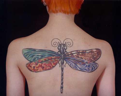 Beautiful Big Dragonfly Hippie Tattoo Design On Back For Girls