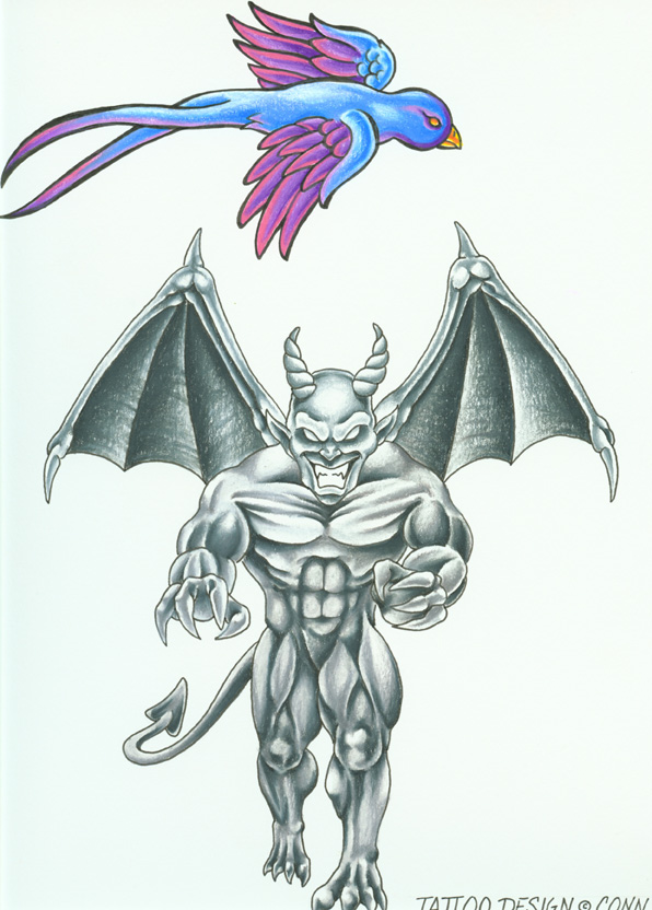 Beautiful Bird n Gargoyle Tattoo Design For Boys