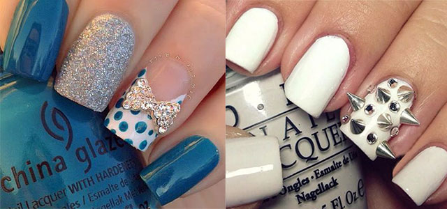 Beautiful Blue And White 3D Nail Art Idea