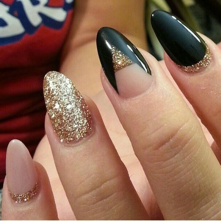 Beautiful Golden And Black Color With Sparkling Paint Almond Shaped Acrylic Nail Art