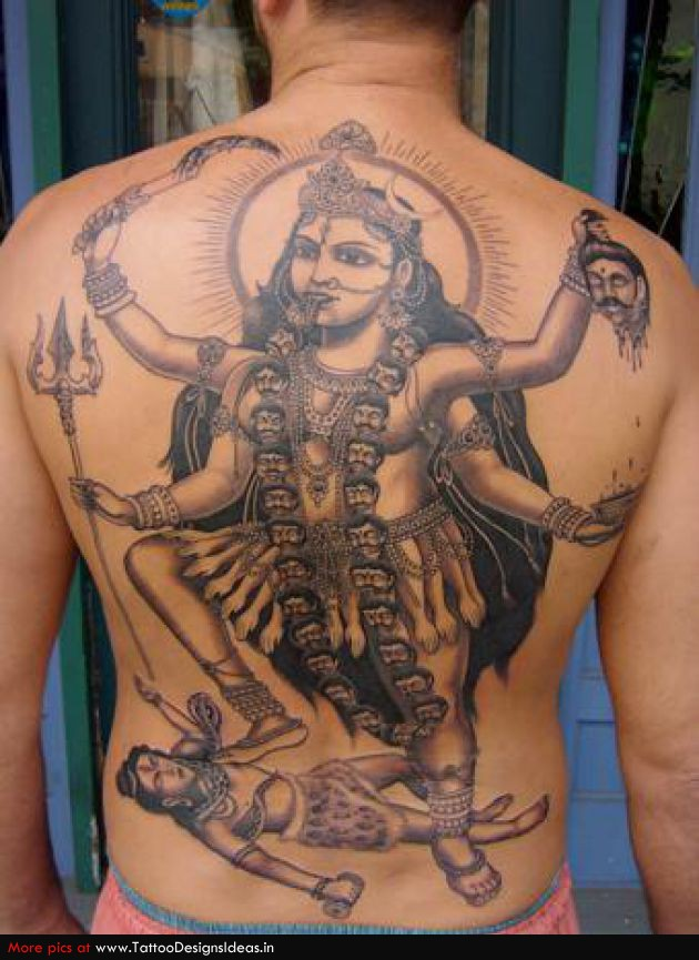 Beautiful Hinduism Tattoo On Back For Boys