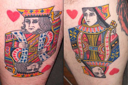 Beautiful King Queen Of Hearts Gambling Card Tattoo Design For Boys