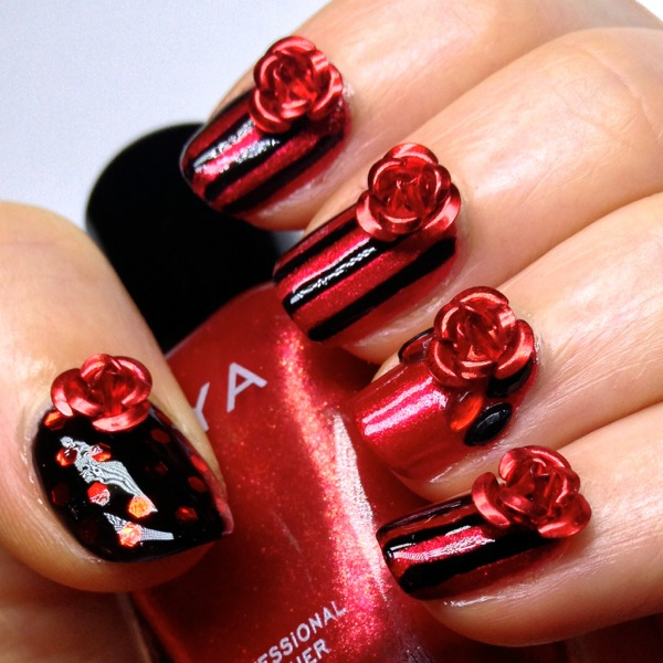 Beautiful Red And Black 3D Rose Flower Nail Art