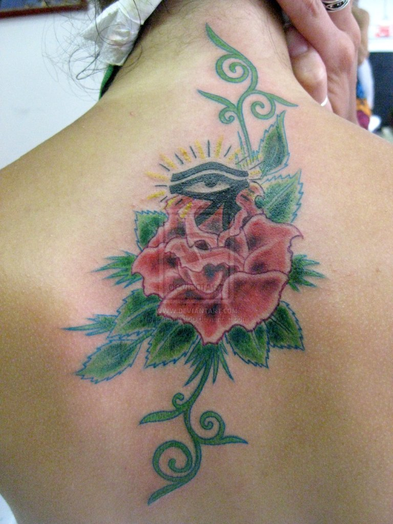 Beautiful Rose n Horus Eye Tattoo On Back For Girls