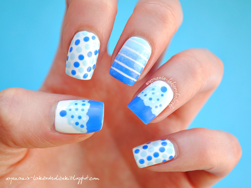 Beautiful Sky Blue Color Birthday Nails