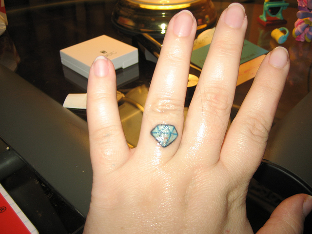 Beautiful Small Diamond Tattoo On Finger For Girls