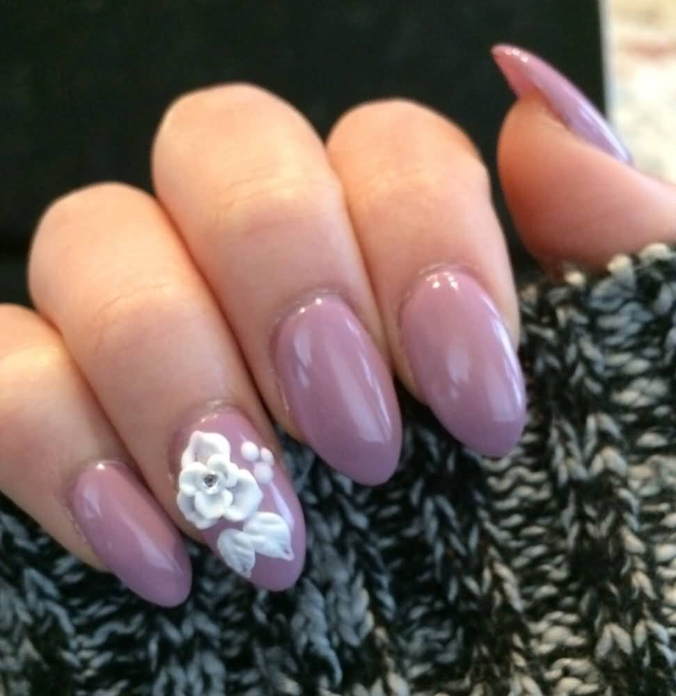 White color nail art - Beautiful White Color Flower With Pink Color Paint Almond Shaped Acrylic Nail Art