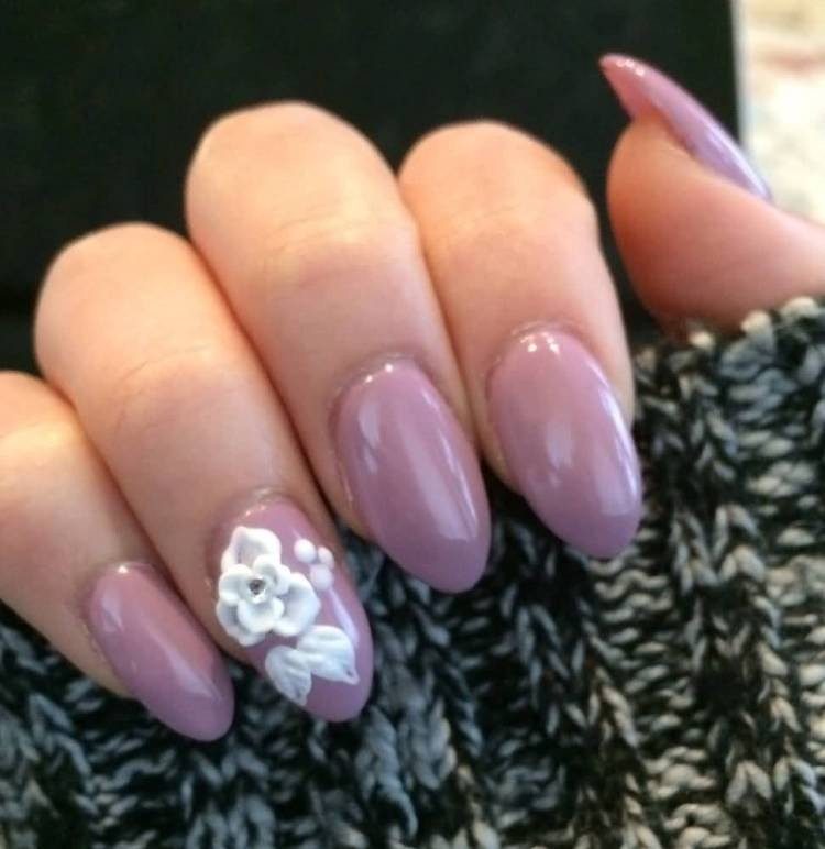 Beautiful White Color Flower With Pink Color Paint Almond Shaped Acrylic Nail Art