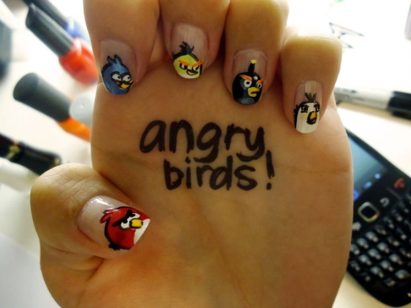 Best Angry Bird Nail Design On Tips Angry Bird Nail Art Design