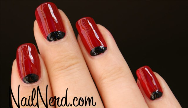 Best Black Half Moon Nail With Dark Red