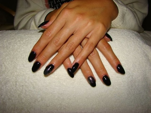Best Ever Black Color Full Black Almond Shaped Acrylic Nail Art