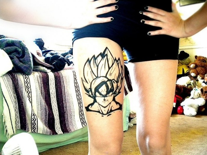 Best Ever Funny Cartoon Tattoo On Right Thigh For Girls