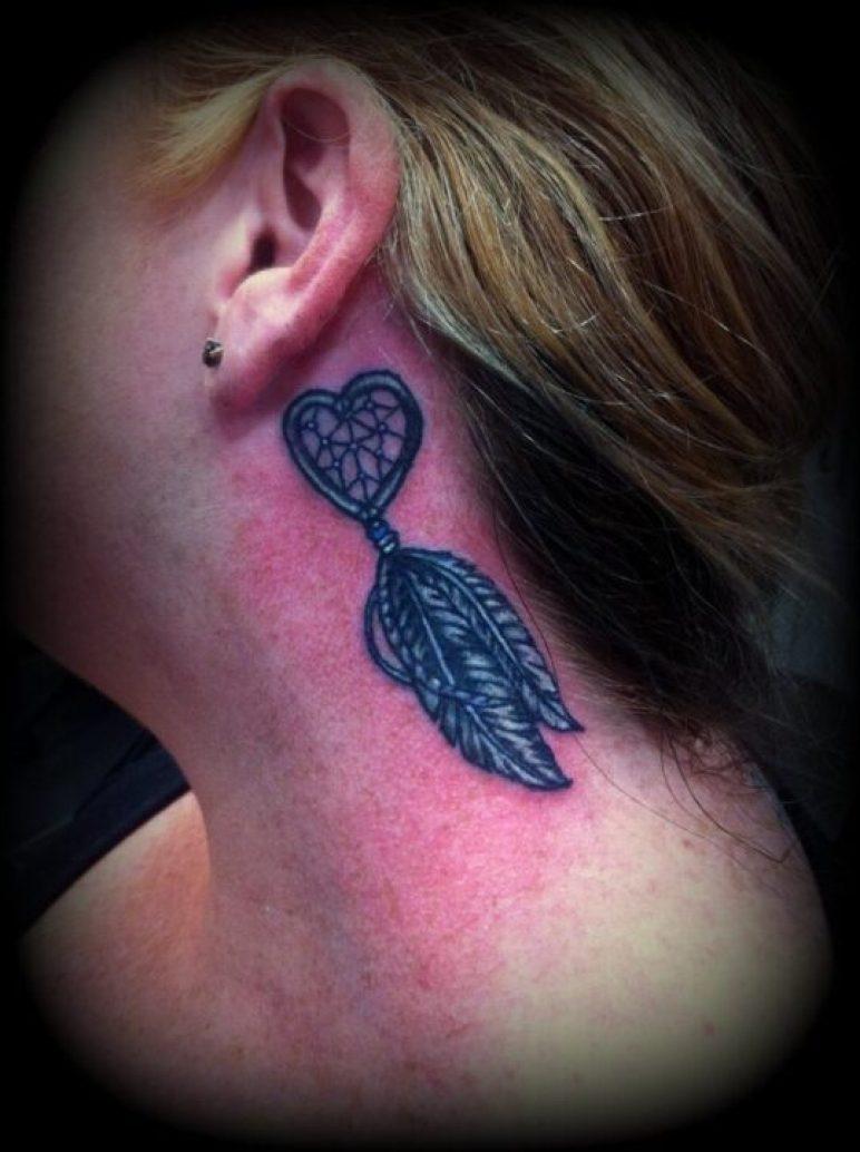 Best Ever Heart Dream Catcher Tattoo Below Ear For Girls