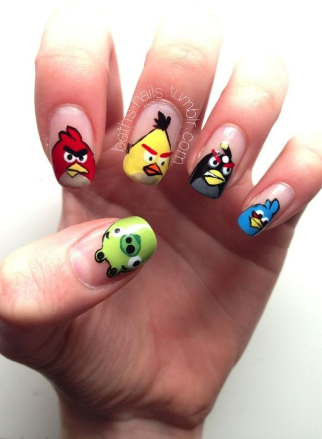 Best Ever Nail Tip With Angry Bird Nail Art Design