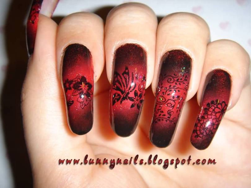 Best Red And Black Nails With Flower Design