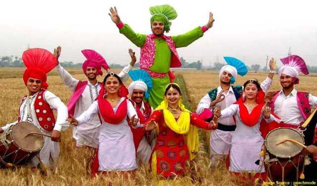 Bhangra Folk Dance People Celebrating Basant Panchami Wishes Pics