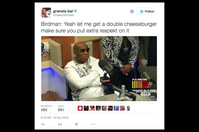 Birman Yeah Let Me Get A Double Cheeseburger Make Sure Funny Birdman Memes Graphics