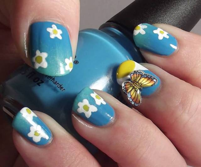 Blue Ink And Blue Color Nail Polish 3D Butterflies Nail Art Butterfly Nail Art