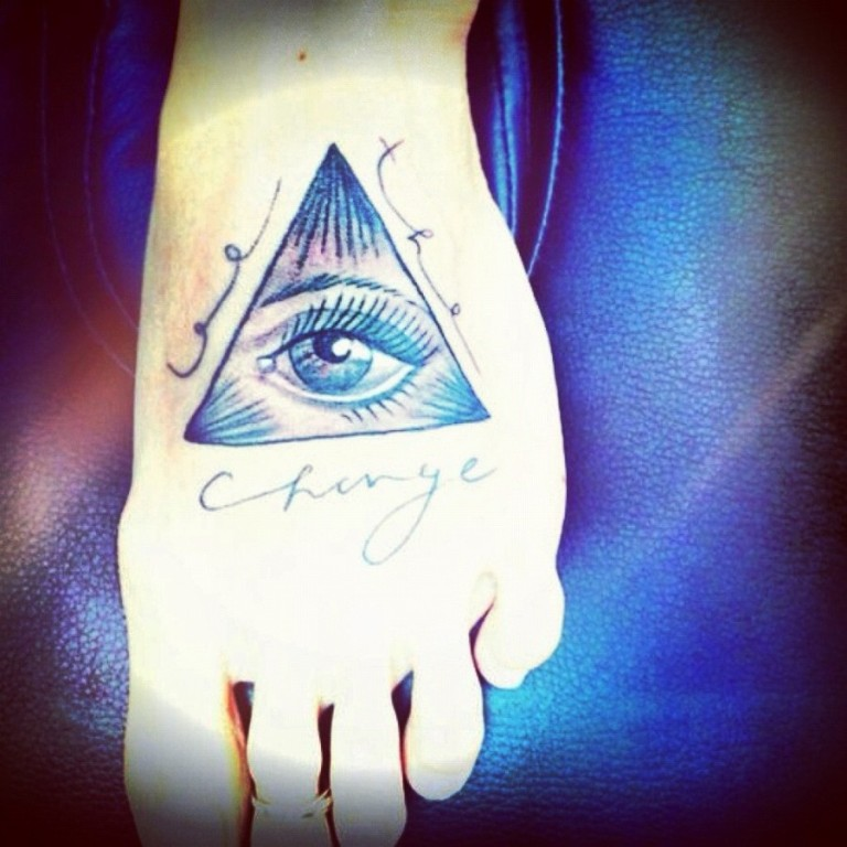 Brilliant Egyptian Eye Tattoo On Foot For Boys