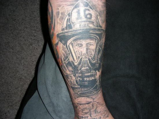 Brilliant Firefighter Tattoo Design For Boys