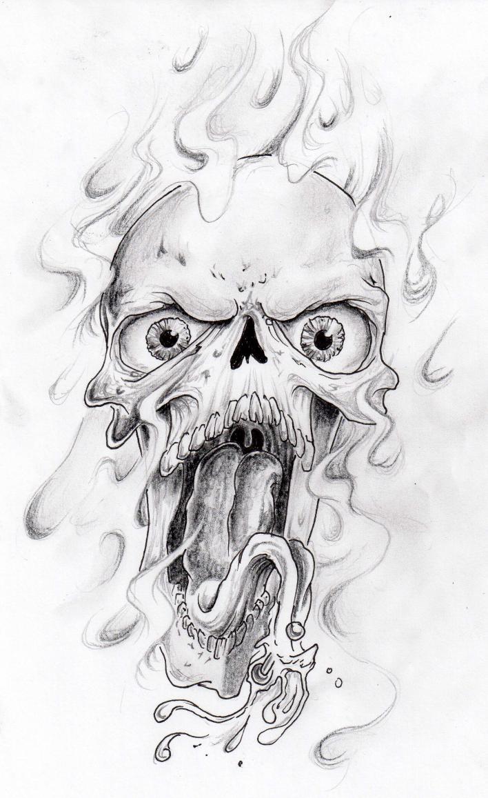 Brilliant Horror Skull Tattoo Design For Boys