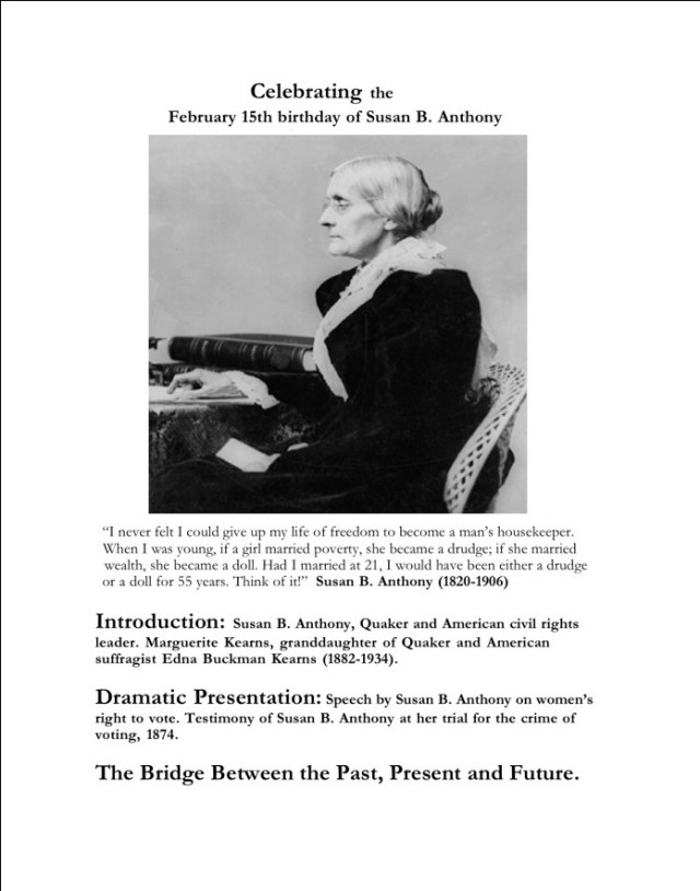 Celebrating The February 15th Birthday Of Susan B. Anthony