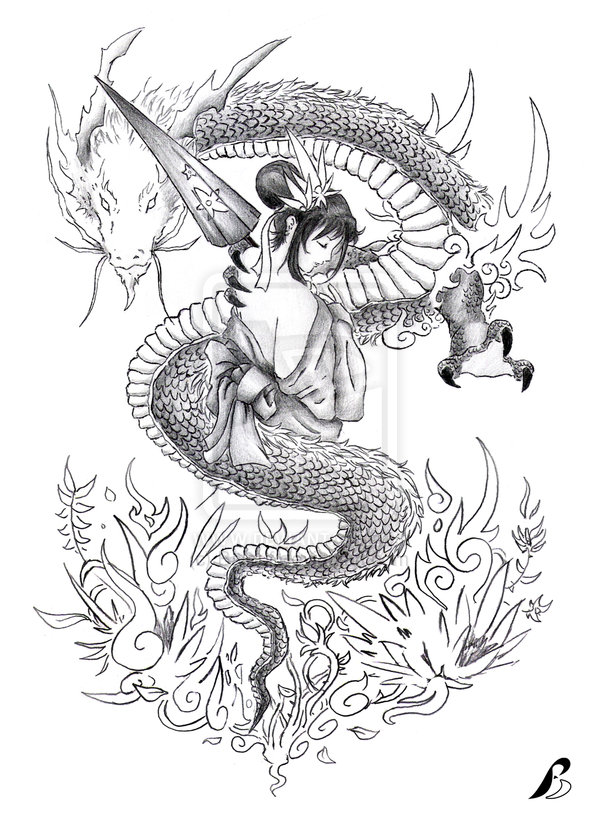Charming Dragon n Geisha Tattoo Stencil For Boys