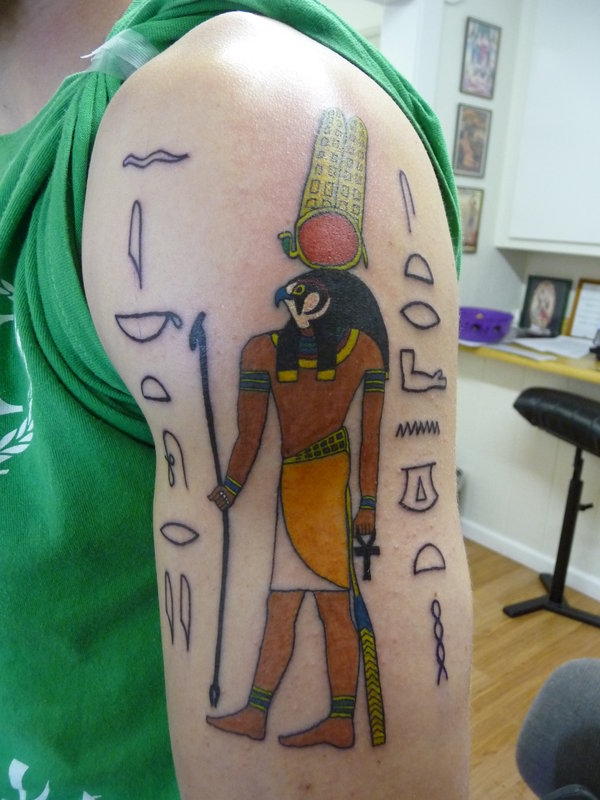 Charming Egyptian God Of War Tattoo Design For Girls