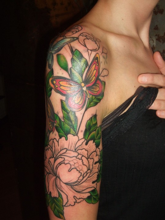 Charming Flowers Tattoo On Sleeve For Women