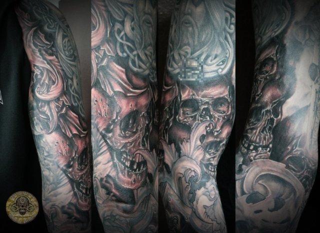 Charming Skull Horror Viking Military Sleeve Tattoo Design For Boys