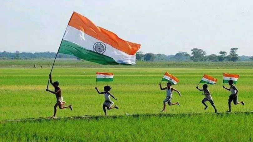 Children Celebrate Happy Republic Day Waving Flag Image