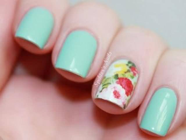 Colorful Flowers With Blue Nail Paint Accent Nail Art