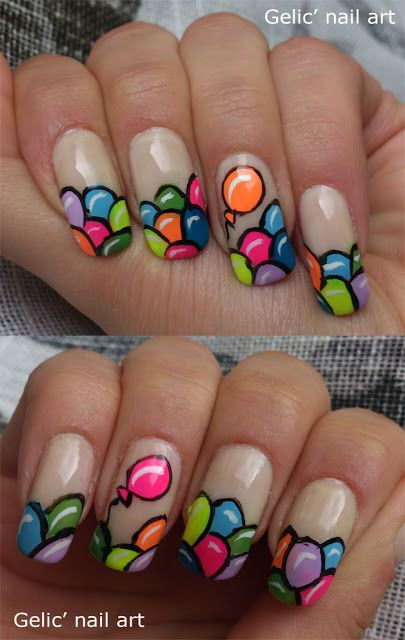 Colorful tips With Balloons Birthday Nails