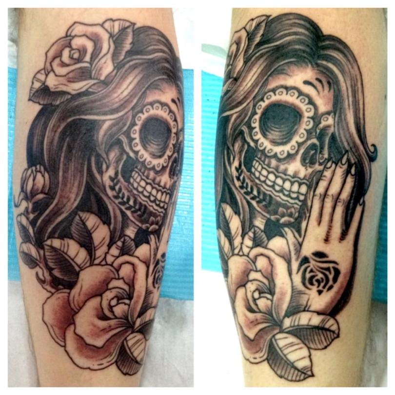 Cool Dia De Los Muertos Lady Skull n Rose Tattoo Design For Girls