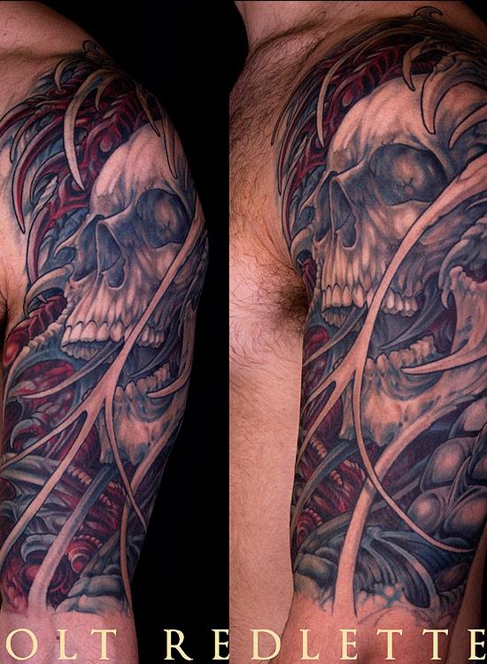 Cool Ha0lf Sleeve Skull Horror Tattoo Design For Boys