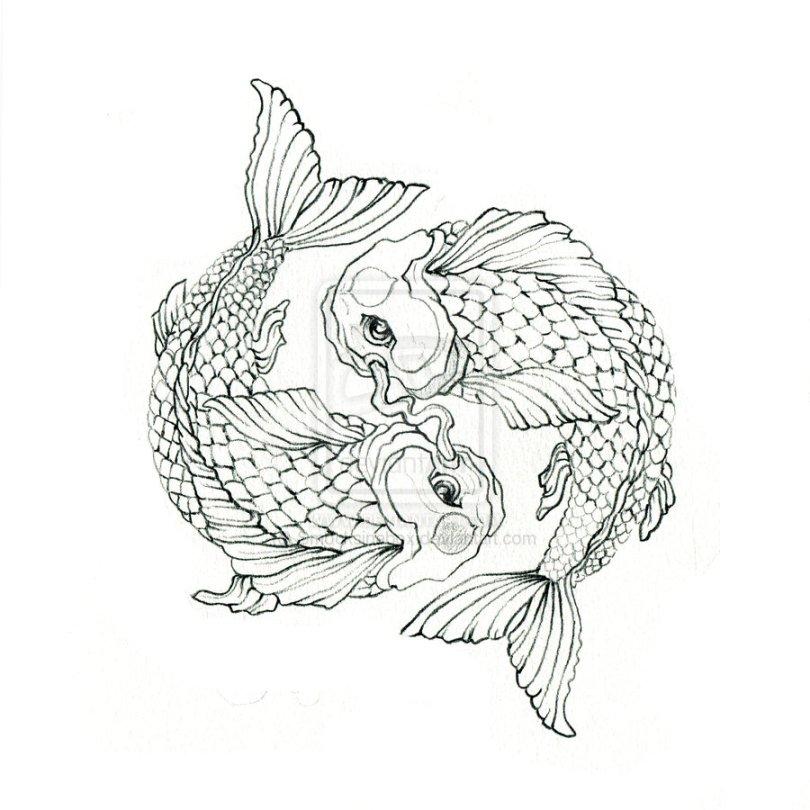 Cool Koi Fish Balance Tattoo Sample For Girls